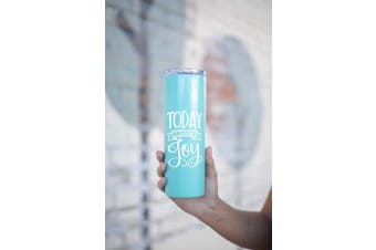 (Choose Joy Teal) - Cute, Fun, Unique Tumblers for Women - Double Walled Stainless Steel 590ml Tumbler - Great Gift for Women, Bosses, Coworkers, Dog Lovers, Wife, Girlfriends (Choose Joy Teal)
