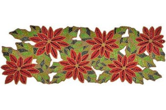 (13x36, Maroon-green Multi) - Poinsettia Beaded Table Runner 33cm x 90cm Maroon-Green Multi, Beaded Table Runner, Christmas Table Runner - Hand Made by Skilled Artisans - A Beautiful Complement to Your Dinner Table Décor