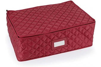 (Rectangular Platter - Tall, Red Quilted Polyester) - Covermates Keepsakes - Rectangular Platter Storage – Padded Protection - ID Window - Dish Storage - Red