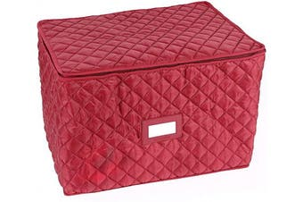 (Serveware, Red Quilted Polyester) - Covermates Keepsakes - Rectangular Serveware Storage – Padded Protection - ID Window - Dish Storage - Red