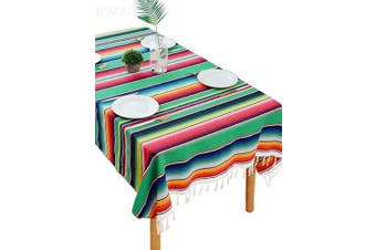 (Green Multicolor) - BOXAN Festive Green Mexican Blanket Tablecloth for Chic Wedding Bridal Shower Decoration, Mexican Saltillo Fiesta Serape Overlay for Saint Patricks Day Mexico Outdoor Home Birthday Decor, 150cm x 210cm