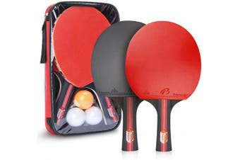 Achort Table Tennis Bats, Pen-hold Rubber Ping Pong Racket Set with 3 Ping Pong Balls for Beginners, Amateurs, Trainers