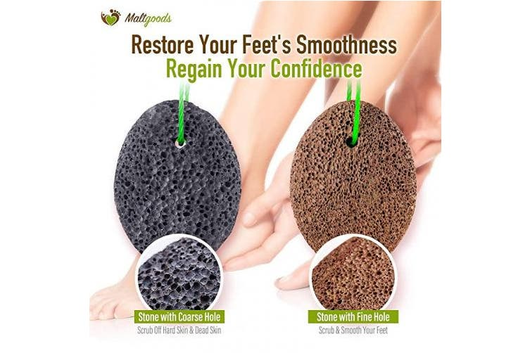 Nature Pumice Stone for Feet,2 PCS Lava Pumice Stone for Heels Callus Removal, Pedicure Exfoliator for Dry Dead Skin with a Cleaning Brush