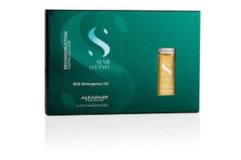 Alfaparf Milano Semi Di Lino Reconstruction Reparative SOS Emergency Oil for Damaged Hair - Includes 6 Vials - Professional Salon Quality - Repairs, Provides Shine and Softness - 80ml