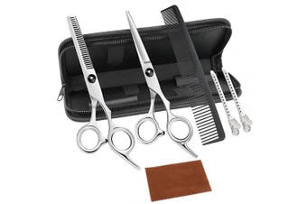 Hair Cutting Shears,Professional Hair Cutting Scissors Set,7Pcs Haircut Shears Kit with Thinning Scissors, Hair Razor Comb, Clips, Cleaning Cloth, Storage Case for Barber, Salon, Home Use