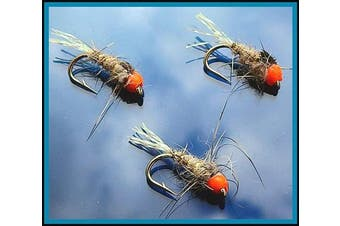(Hot.H Hares ear Lummie Tail sizes MIXED) - Trout Fly Fishing Flies GLOW TAIL HARES EAR HOTHEADS X 3 FLIES For Trout Fly Fishing