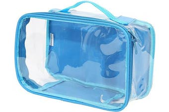 (Turquoise) - Clear Toiletry Makeup Bag, Cosmetic Organiser, Travel Case, PVC Plastic w/Handle (Turquoise)