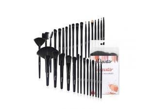(Black) - Makeup Brush Set, Complete 32pcs Black Makeup Brushes Synthetic Soft Bristles Brush for Foundation Kabuki Blush Blending with Storage Case Wooden Handle