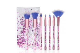 (Pink) - Makeup Brushes, 7PCS Glitter Quicksand Handle Makeup Brush Set for Foundation Powder Blush Eyeshadow with Case Beautiful Pink Purple Cosmetic Brushes