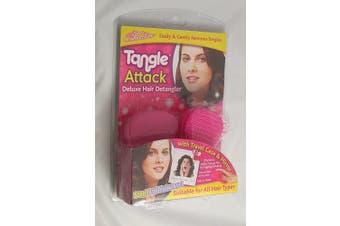 (PINK) - DELUXE HAIR DETANGLER TANGLE ATTACK BRUSH WITH TRAVEL CASE AND MIRROR by ALANNAHS ACCESSORIES