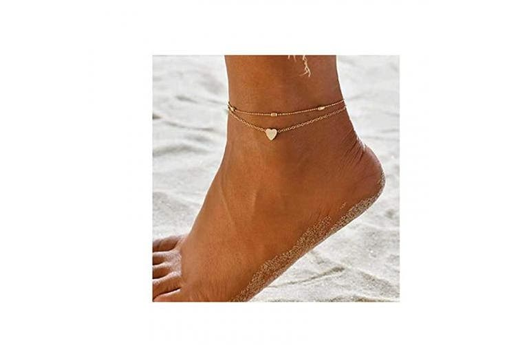 (Gold) - Artmiss Layered Anklets Women Heart Gold Ankle Bracelet Charm Beaded Dainty Foot Jewellery for Women and Teen Girls Summer Barefoot Beach Anklet