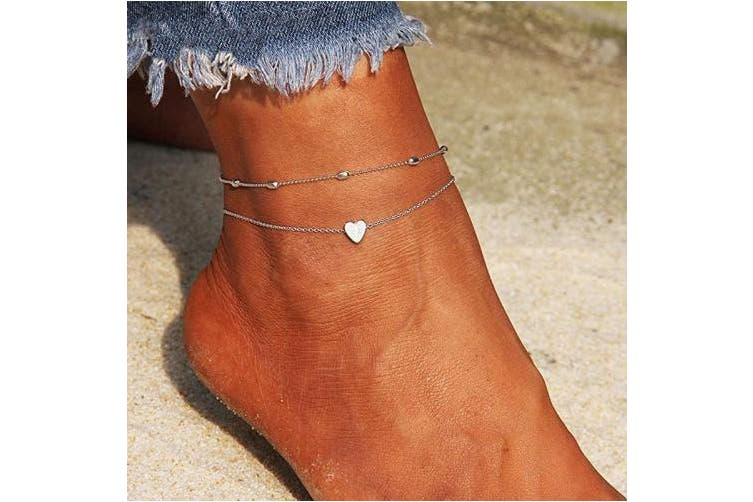 (Silver) - Artmiss Layered Anklets Women Heart Silver Ankle Bracelet Charm Beaded Dainty Foot Jewellery for Women and Teen Girls Summer Barefoot Beach Anklet