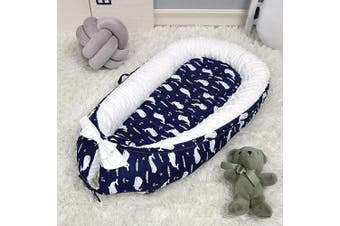 (Whale) - Baby Lounger,Baby Nest Portable Super Soft Organic Cotton and Breathable Detachable Newborn Lounger Perfect for Co-Sleeping/Napping/Travel,Whale Nice Baby Shower Gift