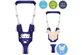 (Blue-b) - Baby Walking Assistant,Autbye Adjustable Toddler Walking Harness Handle Baby Walker with Detachable Crotch & Bib,Breathable and Comfortable for Toddlers Infant Learning to Walk (Blue-B)