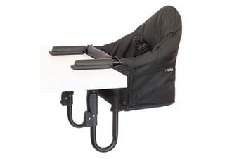 guzzie+Guss Perch Clip On Table Chair – Easy and Secure Setup for Travel (Including Restaurants, Picnics), at Home (Kitchen Islands, Dining Tables) with Machine Washable Fabric, Black