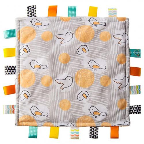 (Comfy Birds) - Taggies Original Blanket, 30cm X 30cm , Comfy Birds (41510) Colour: Comfy Birds With updated fabrics and patterned prints, Mary Meyer has brought back The original Taggies blanket that moms and babies fell in love with. Taggies Original blanket is a 30cm x 30cm square piece of fabric with the softest jersey on top, fluffy fleece on the underside, and lots of sewn-in looped ribbons for babies to explore. With truly innovative attributes and small beginnings, Taggies has revolutionised and redefined how little ones feel secure and engaged in play. Taggies was born when a mom noticed her child's fascination with satin tags, and blossomed into a world of treasured products. Exploring Taggies textured tags can provide tactile stimulation that babies crave for development and have an amazing calming effect on little ones. Taggies Signature Collection is recognised as the premium line of wonderfully soft and soothing Taggies toys made by Mary Meyer.