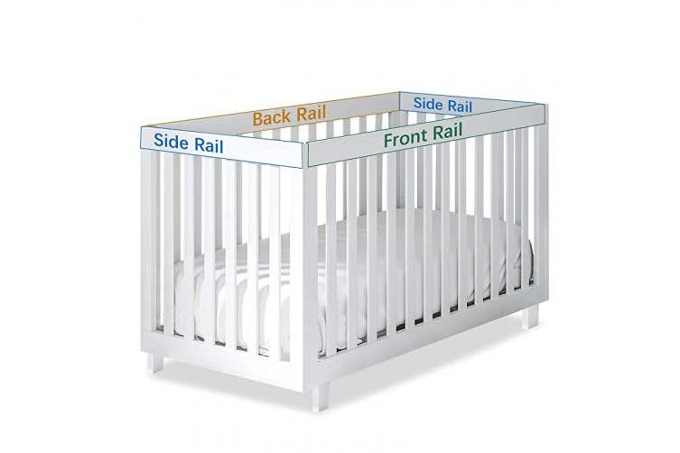 (3 pcs, Blue) - Quilted Crib Rail Cover Protector Safe Teething Guard Wrap for Standard Crib Rails, 3 - Piece, Fit Side and Front Rails, Navy/White, Reversible, Safe and Secure Crib Rail Cover.