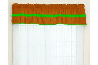 (Orange/Apple) - Baby Doll Bedding Solid Stripe Window Valance, Orange/Apple