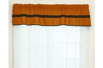 (Orange/Brown) - Baby Doll Bedding Solid Stripe Window Valance, Orange/Brown