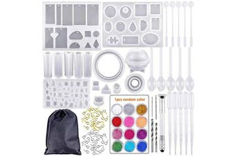(resin moulds) - Tergoo Resin Moulds, Silicone Epoxy Resin Casting Moulds and Tools Set with Storage Bag for DIY Jewellery Earring Craft Making