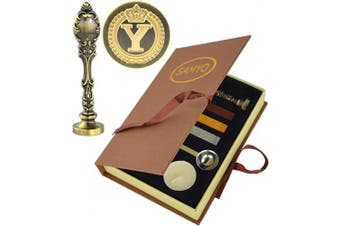 (Letter Y) - Samyo Creative Romantic Stamp Maker Classic Old-Fashioned Style Brass Colour Wax Seal Sealing Stamp Vintage Antique Alphabet Initial Letter Set - (Letter Y)