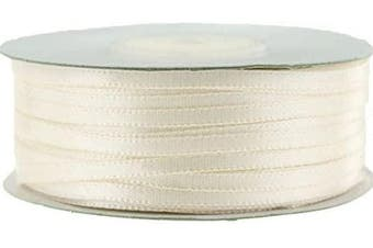 (Antique White) - Ben Collection 0.3cm X 100 Yard Double Faced Satin Ribbon Art & Sewing Party Favour (Antique White)