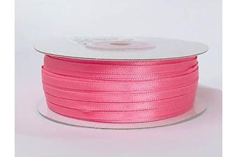 (Hot Pink) - Ben Collection 0.3cm X 100 Yard Double Faced Satin Ribbon Art & Sewing Party Favour (Hot Pink)