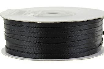(Black) - Ben Collection 0.3cm X 100 Yard Double Faced Satin Ribbon Art & Sewing Party Favour (Black)
