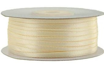 (Ivory) - Ben Collection 0.3cm X 100 Yard Double Faced Satin Ribbon Art & Sewing Party Favour (Ivory)