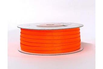 (Neon Orange) - Ben Collection 0.3cm X 100 Yard Double Faced Satin Ribbon Art & Sewing Party Favour (Neon Orange)
