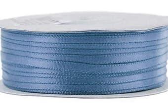 (Antique Blue) - Ben Collection 0.3cm X 100 Yard Double Faced Satin Ribbon Art & Sewing Party Favour (Antique Blue)