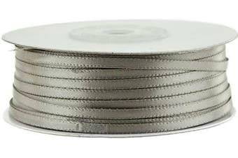 (Silver) - Ben Collection 0.3cm X 100 Yard Double Faced Satin Ribbon Art & Sewing Party Favour (Silver)