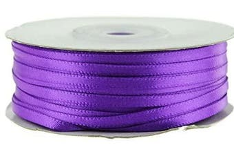 (Purple) - Ben Collection 0.3cm X 100 Yard Double Faced Satin Ribbon Art & Sewing Party Favour (Purple)