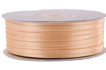 (Peach) - Ben Collection 0.3cm X 100 Yard Double Faced Satin Ribbon Art & Sewing Party Favour (Peach)