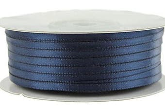 (Navy) - Ben Collection 0.3cm X 100 Yard Double Faced Satin Ribbon Art & Sewing Party Favour (Navy)