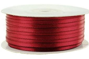 (Scarlet) - Ben Collection 0.3cm X 100 Yard Double Faced Satin Ribbon Art & Sewing Party Favour (Scarlet)
