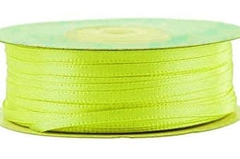 (Neon Yellow) - Ben Collection 0.3cm X 100 Yard Double Faced Satin Ribbon Art & Sewing Party Favour (Neon Yellow)