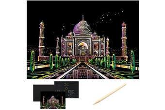 (Taj Mahal) - Scratch Art Scratch Paper DIY Night View Scratchboard for Adult and Kids,Night View Series Size 41cm x 28cm (taj Mahal)