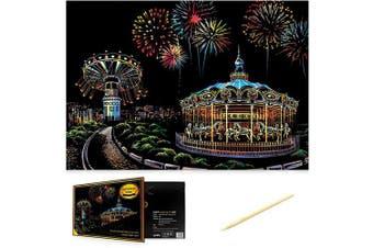 (Amusement Park) - Scratch Art Scratch Paper DIY Night View Scratchboard for Adult and Kids,Night View Series Size 41cm x 28cm (Amusement Park)
