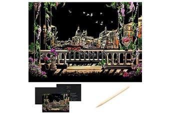 (Venetian City) - Scratch Art Scratch Paper DIY Night View Scratchboard for Adult and Kids,Night View Series Size 41cm x 28cm (Venetian City)
