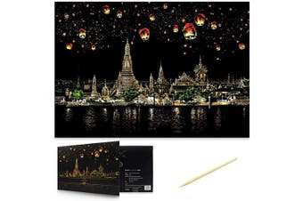 (Chiang Mai) - Scratch Art Scratch Paper DIY Night View Scratchboard for Adult and Kids,Night View Series Size 41cm x 28cm (Chiang mai)