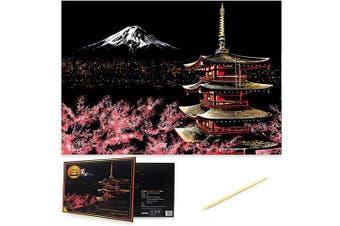 (Mount Fuji) - Scratch Art Scratch Paper DIY Night View Scratchboard for Adult and Kids,Night View Series Size 41cm x 28cm (Mount Fuji)