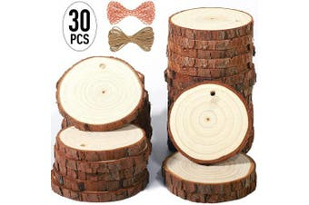 (30pcs(6.1cm  - 7.1cm )) - 5ARTH Natural Wood Slices - 30 Pcs 6.1cm - 7.1cm Craft Unfinished Wood kit Predrilled with Hole Wooden Circles for Arts Wood Slices Christmas Ornaments DIY Crafts