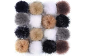 (Popular Mix Colors) - Coopay 16 Pieces Faux Fur Pom Pom Ball DIY Fur Pom Poms for Hats Shoes Scarves Bag Pompoms Keychain Charms Knitting Hat Accessories (Popular Mix Colours)