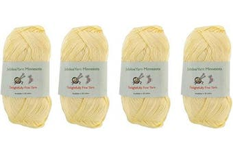 (4 Skeins, Col 14 Pastel Yellow) - Lace Weight Tencel Yarn - Delightfully Fine - 60% Bamboo 40% Tencel Yarn - 4 Skeins - Col 14 Pastel Yellow