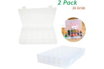 2 Pack 36 Grids Plastic Organiser with Adjustable Dividers,Multi Compartment Storage Box for Bead,Jewellery,Letter Board,Rocks