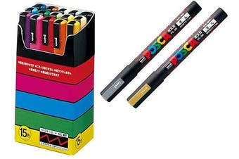 Uni-posca Paint Marker Pen SPECIAL SET (b-set) , Mitsubishi Pencil Uni Posca Poster Colour Marking Pens Fine Point 15 Colours (PC-3M15C), Gold and Silver -Japan Import