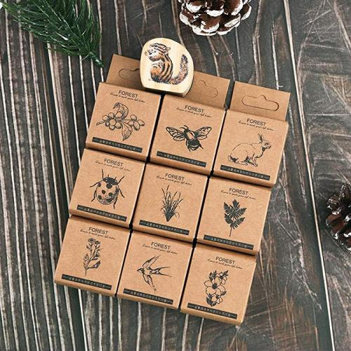 Bullet Journal Planners Dizdkizd Wooden Rubber Stamp Set Natural Design Wooden Seal for DIY Craft Arts Scrapbooking 10pcs Animal /& Plant Decorative Mounted Rubber Stamps