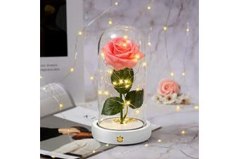 (Beauty Pink Rose) - infinity rose flower Beauty and The Beast,Enchanted Rose and Led Light with Fallen Petals in Glass Dome button Artificial Flowers Home Decorations Gift for Mother's Day Valentine's Day Wedding Anniver