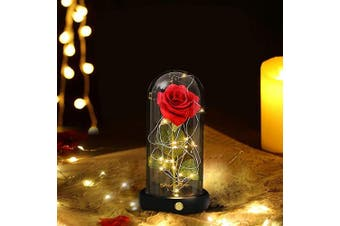 (Red Rose) - Enchanted Red Silk Rose Beauty and The Beast Garden Flowers Artificial Led Light Fallen Petals in Glass Dome for Anniversary ,Birthday ,Valentine's, Mother's,Engagement, Thanksgiving Day, Christmas